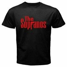 Novo os sopranos crime drama série tv logotipo masculino preto camiseta tamanho S-5XL(1)