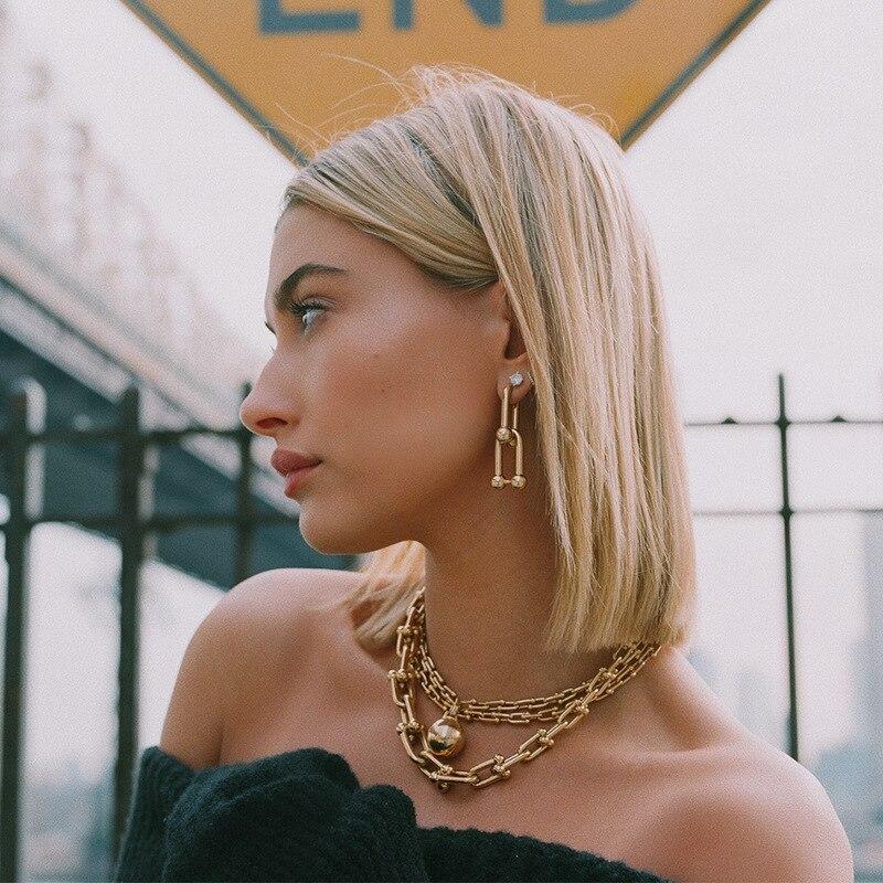 Special Irregular Triple Link Geometric Earrings Vintage Punk Drop Earrings Gold Silver Color  Earring For Women Trendy Jewelry