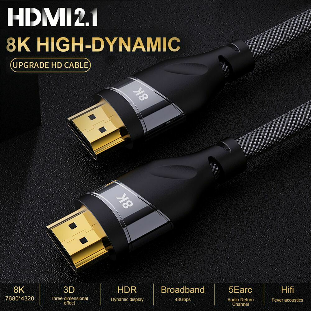 HDMI 2.1 Gold Plated Cable 4K @120HZ High Speed 8K @60HZ UHD HDR 48Gbps Cable For PS4 HDTVs Projectors 0.5m1.m1.5m 2m HDMI 2.1