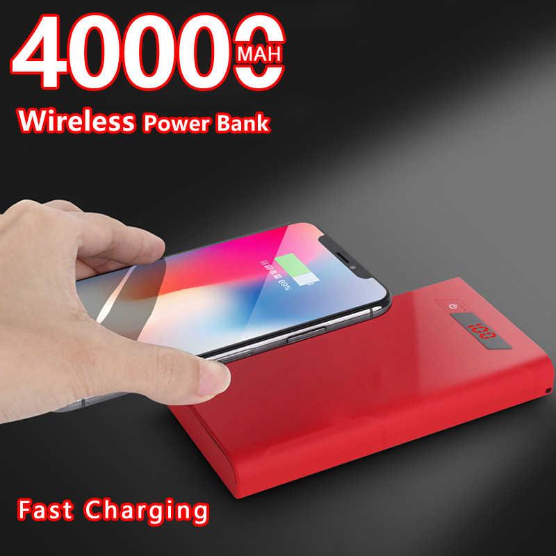 40000mah kablosuz taşınabilir şarj cihazı bataryası için hızlı şarj telefonları pil şarj LED aydınlatma dijital ekran el feneri ile