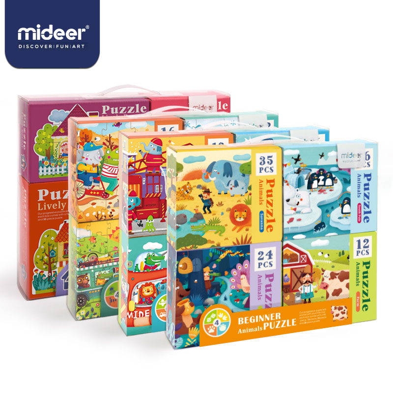 MiDeer Puzzles For Kids Children Toys Paper Puzzle 16/32pcs Cartoon Animals Educational Toys For Children Puzzle Box  > 3 Y