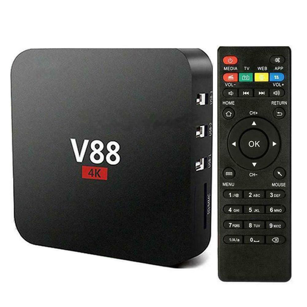 V88 TV Box Rockchip 3229 Quad Core 4K H.265 1GB DDR3 RAM 8GB EMMC ROM Mini PC Android Set Top Box Android 7.1.2 Smartbox