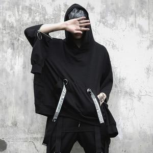 Image 1 - Mannen oversized lange mouwen t shirt linten hip hop punk mantel heren nachtclubzangeres stadium kostuum hooded shirts streetwear