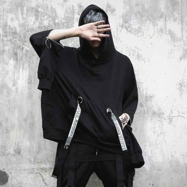 Mannen oversized lange mouwen t shirt linten hip hop punk mantel heren nachtclubzangeres stadium kostuum hooded shirts streetwear