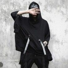 Men oversized long sleeve t shirt ribbons hip hop punk cloak mens nightclub singer stage costume hooded tee shirts streetwear