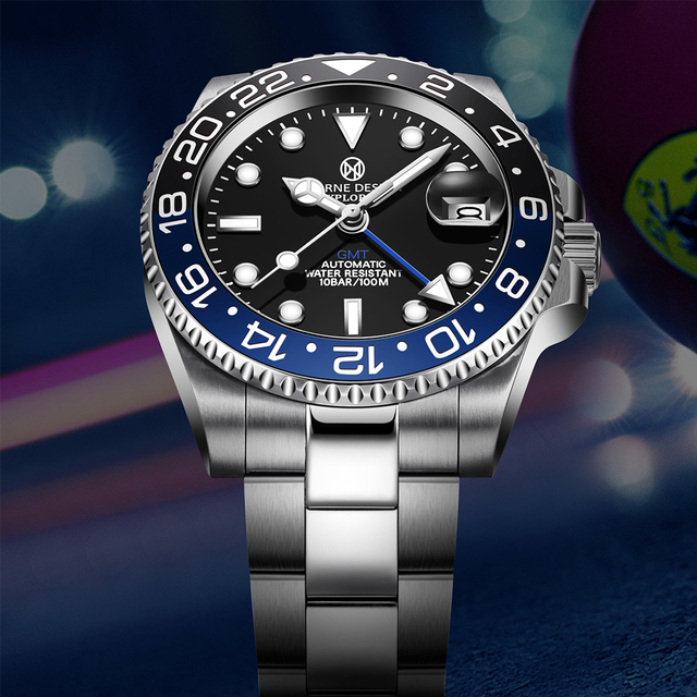 PAGRNE DESIGN Luxury Brand Mens Watch Automatic Mechanical GMT 100m Waterproof Stainless Steel 40mm Sapphire Glass Fashion watch 2