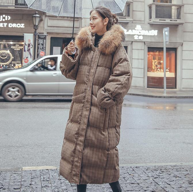 2019 Winter Jacket Women Hooded with Fur X-long   Down     Coat   Thicken Warm Padded Parka High Quality PP155