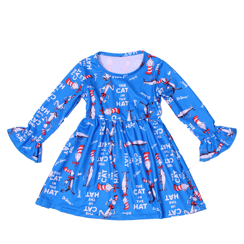 Baby Girls Fall/winter Boutique Dress The Cat In Hat Printed Clothes Toddlers Blue Cartoon Long Sleeve Dress Milksilk WholesalesDresses   -