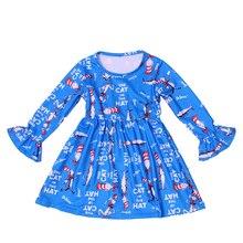 Bebê meninas outono/inverno boutique vestido o gato no chapéu impresso roupas crianças azul dos desenhos animados vestido de manga longa milksilk atacado