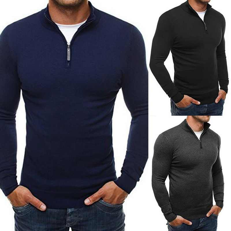 Mens Knitting Sweatshirts Brands Pullovers Winter Autumn Tops Male Casual Zipper Stand Collar Tops Slim Solid Jumper Sweaters