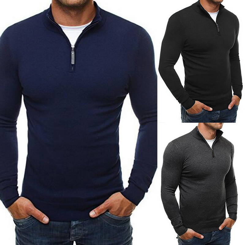 Mens Marcas de Tricô Camisolas Pullovers Outono Inverno Tops Masculino Zipper Ocasional Gola Tops Slim Sólidos Blusas de Jumper