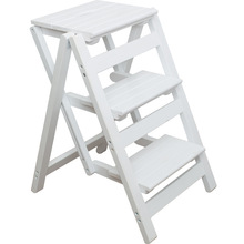 Stool Ladder-Rack Folding Portable Indoor 8 Small Household Wood Space Free-Installation