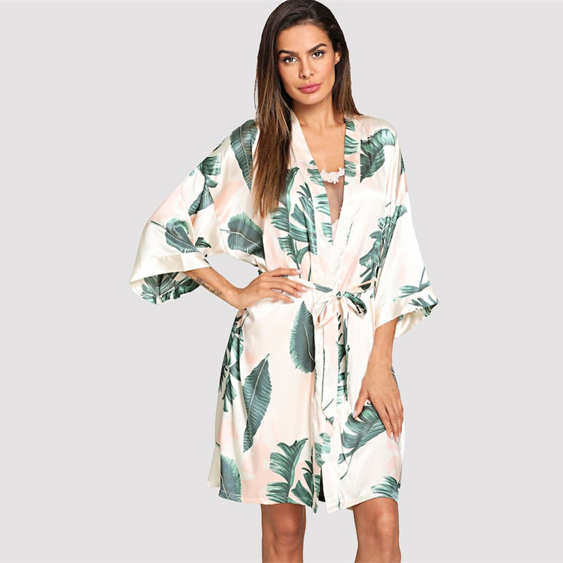 Sanderala Tropical Plant Print Robe V Neck Belted Women Half Sleeve Sleepwear Elegant Satin Dressing Gown Bathrobe Home Pajamas