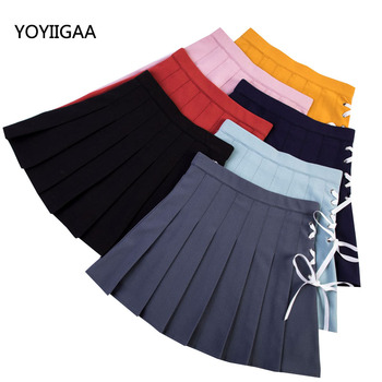 2020 Women Mini Pleated Skirt Fashion High Waist Straps A-line Ladies Skirts Casual Cute Solid Skirts for Girls Mini Women Skirt shein girls black solid button up belted casual girls skirts kids clothing 2019 spring fashion a line preppy long flared skirts
