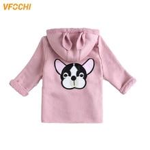 VFOCHI 2019 Girl Wool Coat Winter Windbreaker Kids Puppy Print Cute Children Clothing Baby Girls Hooded Outerwear