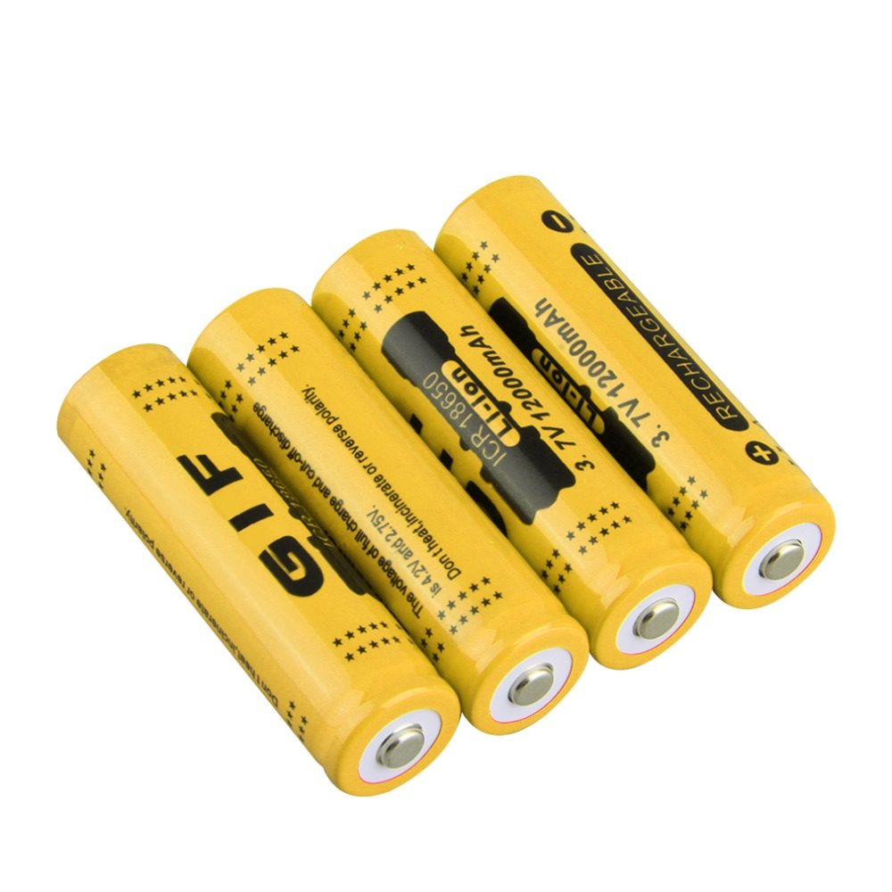4pcs 18650 3.7V 12000mah Rechargeable Li-ion Battery For LED Torch Flashlight Red Shell Low Reoccurring Operation 2 Colors