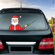 Car Rear Wiper Decal Sticker Windshield Christmas Santa Claus Waving Decor Ornament YAN88