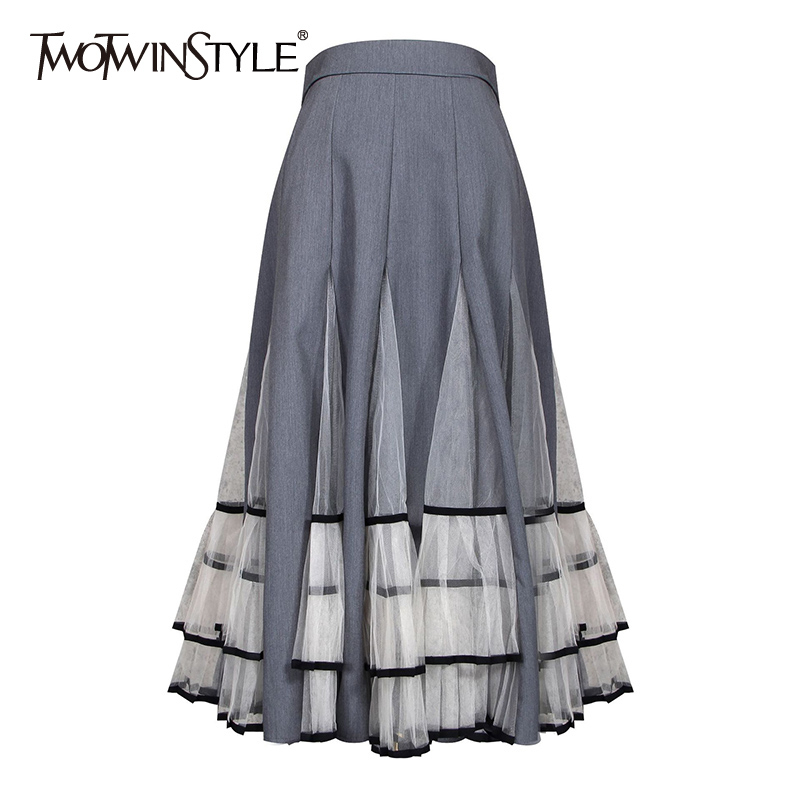 TWOTWINSTYLE Casual Hit Color Patchwork Mesh Women's Skirts High Waist Ruffle Pleated Female Skirt 2020 Autumn Fashion New