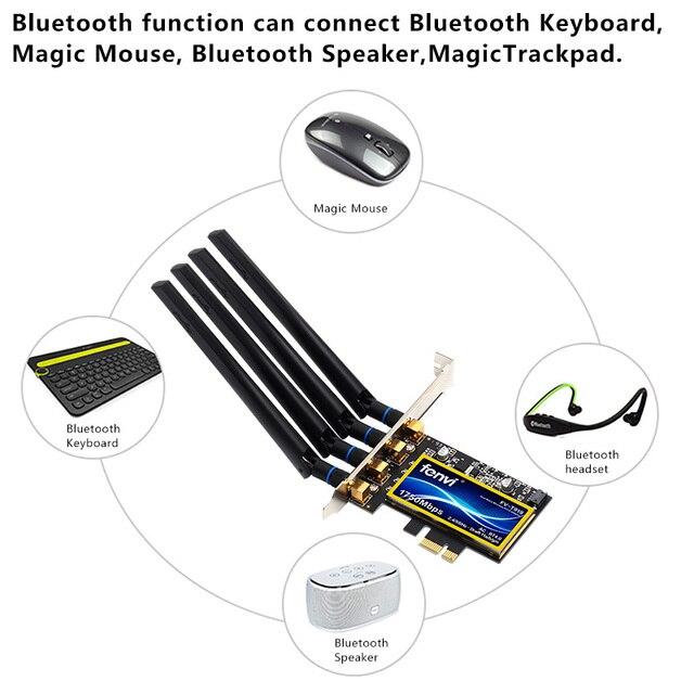Desktop Hackintosh Mac OS PCIe Wifi Adapter Wireless Dual Band 1750Mbps BCM94360CD 802.11ac  Bluetooth 4.0 Wi-Fi Card 4 Antennas