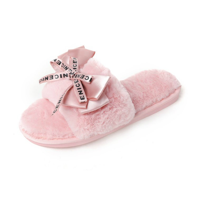 Women Plush House Home Slippers Faux Fur Warm Shoes 2019 Woman Slip on Flats Cute Bowtie Female furry Slides winter slippers