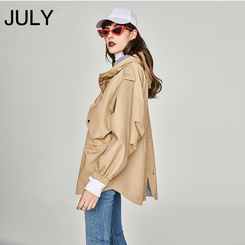 JULY 2019 Autumn New Casual Good Quality Womens Cotton Short Oversized Hooded Jacket Loose Clothing outerwear