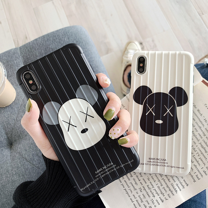 KAWS Bear Iphonexsmax Phone Case Applicable IPhone 7/8 Plus/XR Curved Surface Shatter-resistant Protective Case Couples