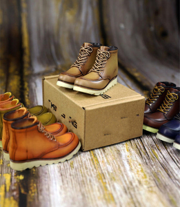 Image 4 - 1/6 Scale SK005 Mens Retro High top Locomotive Shoes Male Figure Boots Model with Feet for 12 Body