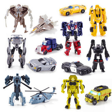 цена на Original box Kids Transform Toys Pocket Car transformation robot Man Figure Movable Joints Mini Robot Action Figure Toys For boy