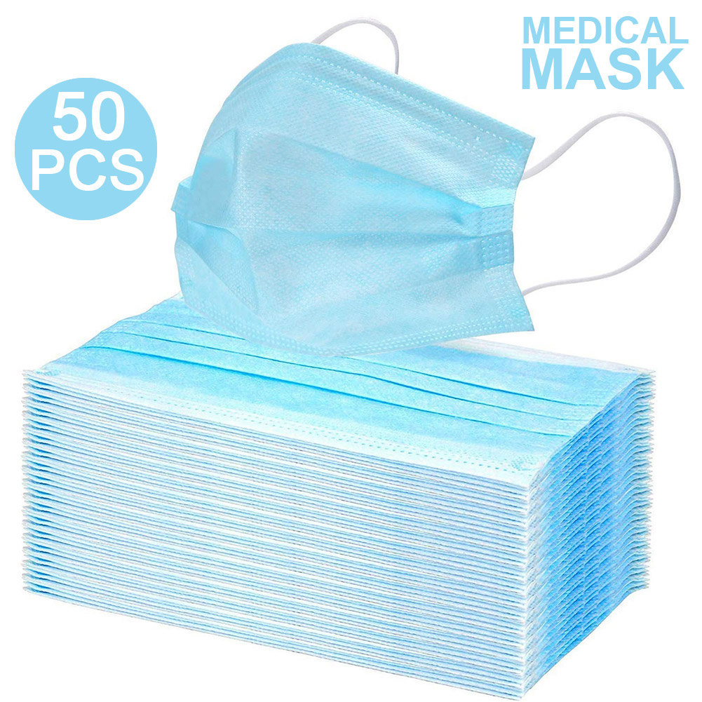 50pcs Disposable Face Mask Face Mask Indoor Anti-Flu Bacteria Mask Outdoor PM2.5 Dust Masks CE Certification