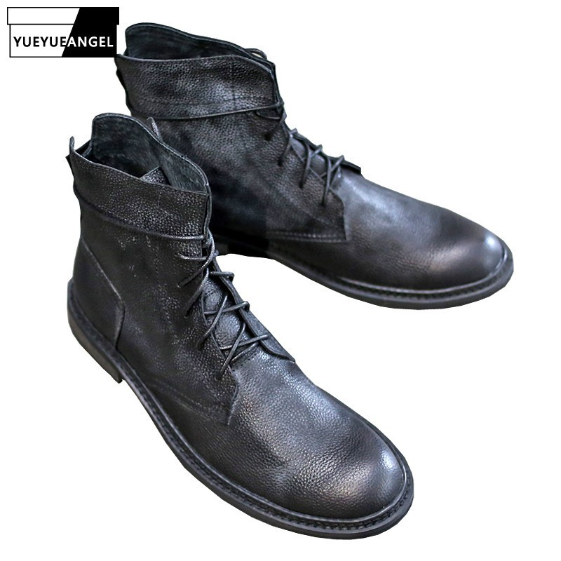High Top Harajuku Autumn New Mens Motorcycle Boots British Fashion Lace Up Round Toe Male Genuine Leather Cargo Flat Booties