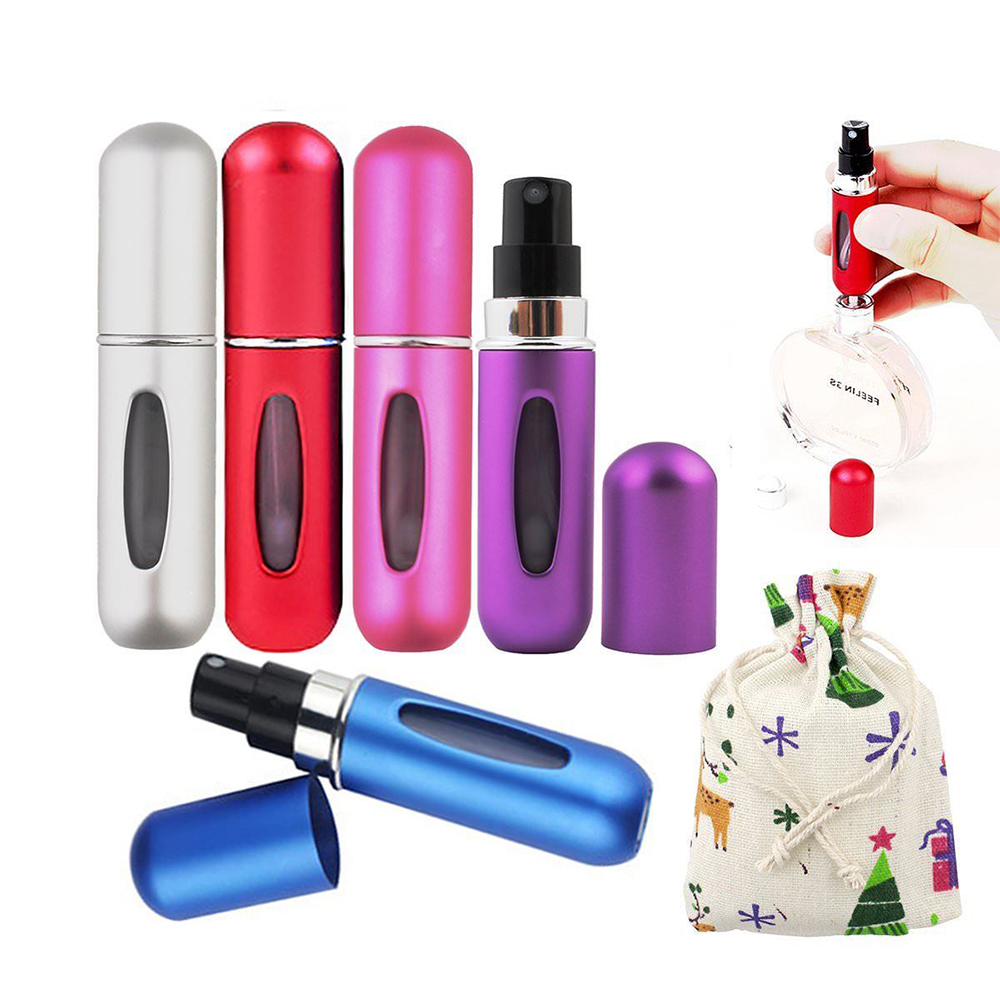5ml Portable Traveler Spray Bottle Aluminum Perfume Atomizer Bottle Empty Pump Refillable Bottles For Travel Makeup Toner Lotion