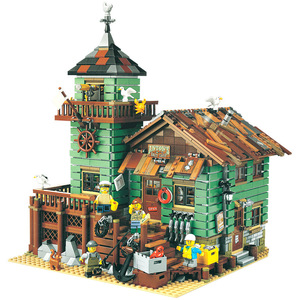 Fishermanerly Hut Old Fishing Store Building Blocks City Creator Street View Bricks DIY Friend Educational Toys For Children