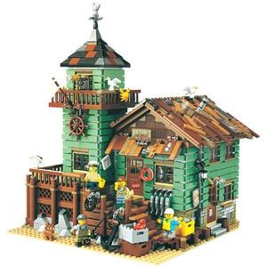 Fishermanerly Hut Old Fishing Store Building Blocks City Creator Street View Bricks DIY Friend Educational Toys For Children
