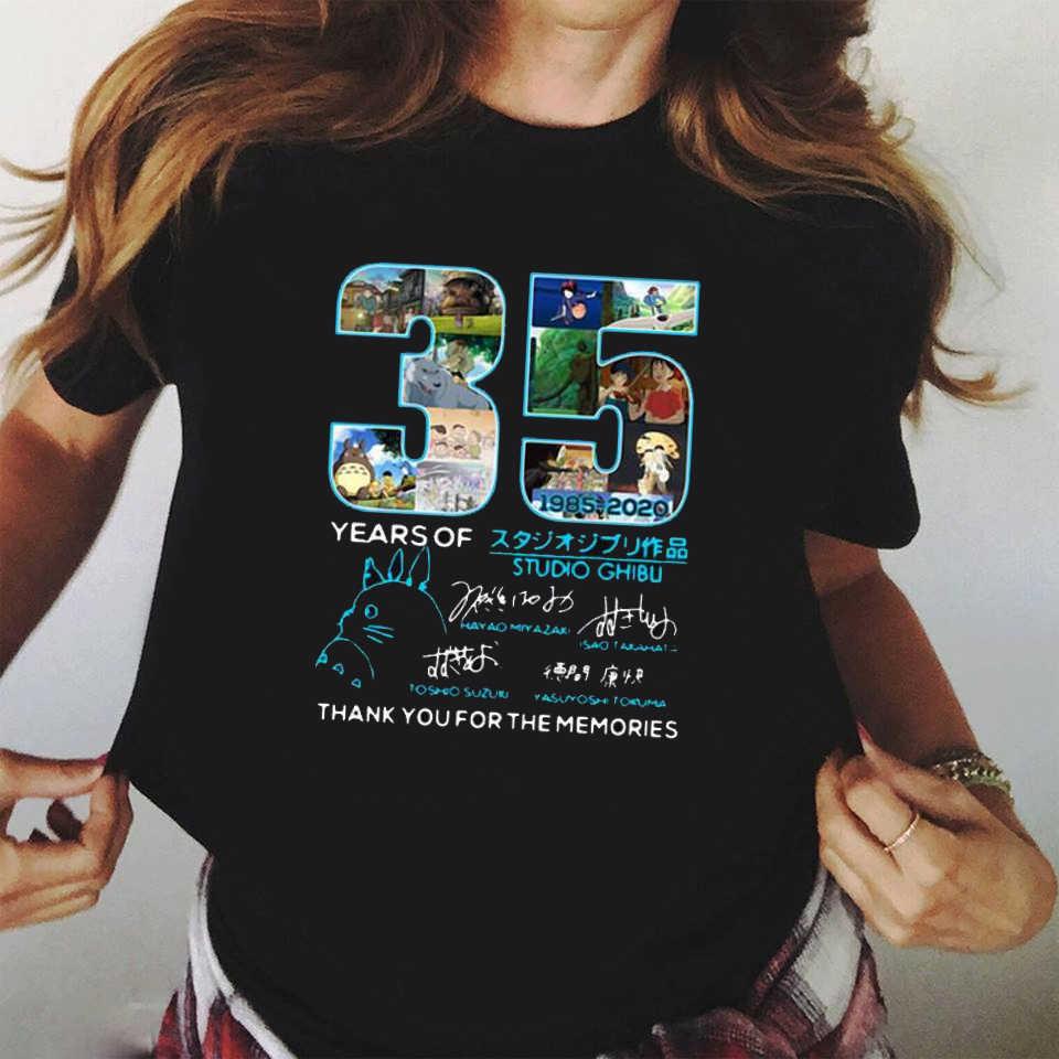 Adult-kids Japanese Anime T Shirts Studio Ghibli Totoro Women Tshirts Harajuku T-shirt Funny Cartoon Tee Shirt 90s Tops Female