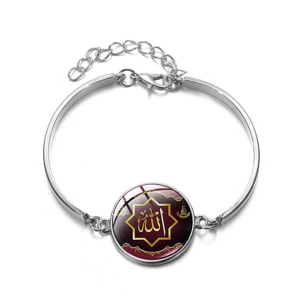 SONGDA Muslim Islamic Bracelet Silver Plated Handmade Art Picture Glass Dome Charm Bracelet Bangle Arabic Allah Ramadan Jewelry