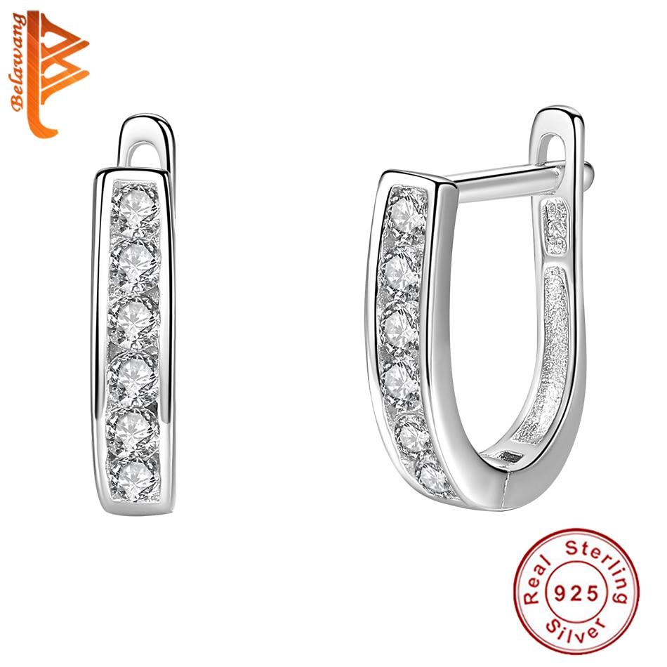 925 Silver Plated Crystal U Shaped Ear  Clip Earrings Wedding Jewelry Women Gift