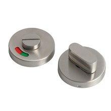 Serrure de porte WC en acier inoxydable, verrou de poignée de porte de salle de bains, bouton de traction en métal