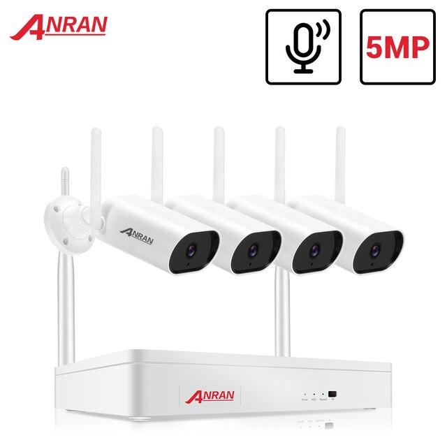 ANRAN 5MP Video Surveillance Kit Audio Camera Wireless NVR Kit Security Camera System 1920P Outdoor Waterproof Security Camera