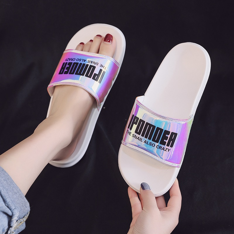 Summer Slides Women Slippers Mirror Laser Beach Slides Eva Soft Sole Outdoor Slide Sandals Women Men Couple Shoes Flip Flops