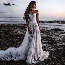 Smileven Vintage Lace Bohemian Wedding Dress 2020 Cap Sleeves 3D Floral Appliques Bridal Gowns Backless Vestido De Noiva Lorie