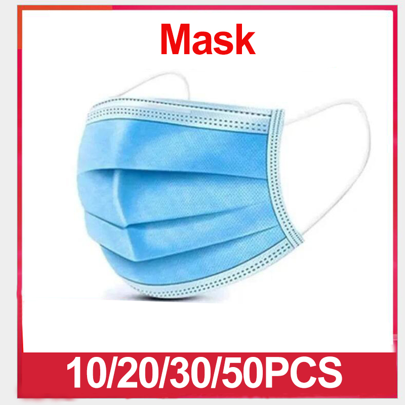 10/20/30/50pcs Non Woven Disposable Face Protective Mask 3 Layer Anti-Dust Anti-virus, Breathable Masks