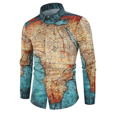 Men Interesting Map Printing Shirt Long Sleeve Casual Male Turn Down Collar Shirts 3D Print Tops For Man Vintage Male Clothe D30 turn down collar 3d paisley print long sleeve shirt