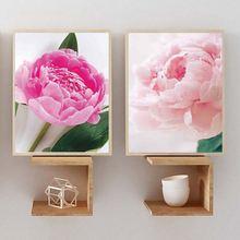 Картина с розовыми пионами для украшения дома в скандинавском