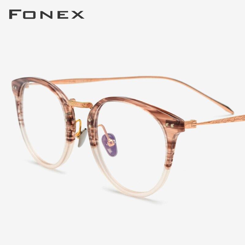 Acetate Pure Titanium Eyeglasses Frame Men Vintage Round Ultralight Prescription Myopia Optical Glasses Frame Women Eyewear 9132