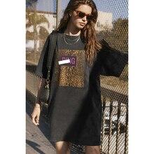 Vintage Women Tee Dress Letter Leopard Print Long T-shirt 100% Cotton Round Neck Shirt Short Sleeve Summer Shirt Oversize Tops