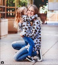 family matching clothes christmas big sister mom and me baby girl fashion leopard cotton hoodies mother & daughter