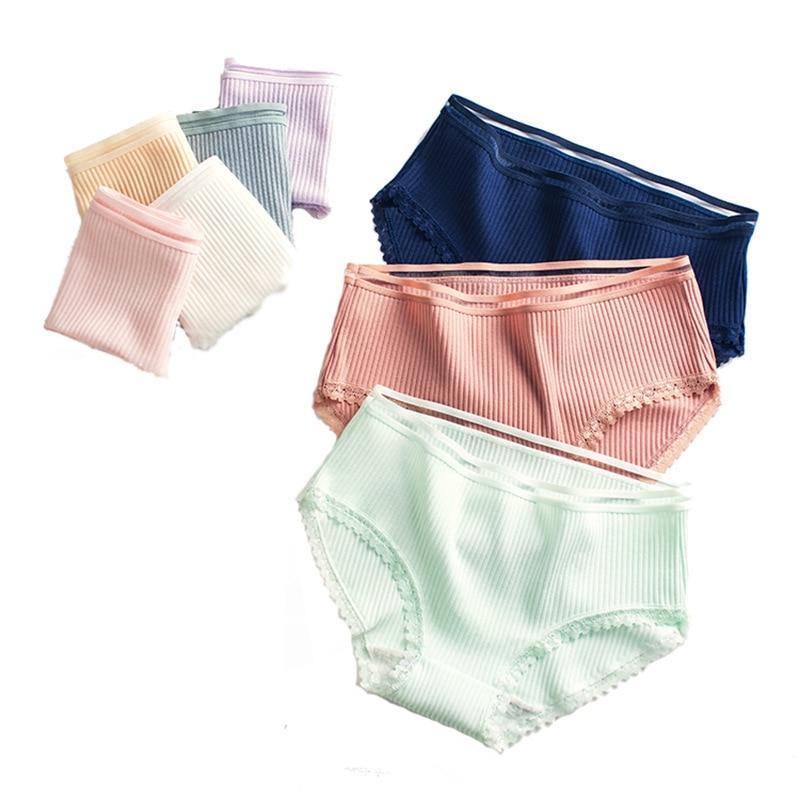 L-XXL Code Lace Panties Women Fashion Cozy  Lingerie Pretty Briefs High Quality Cotton Middle Waist Cute Women Underwear