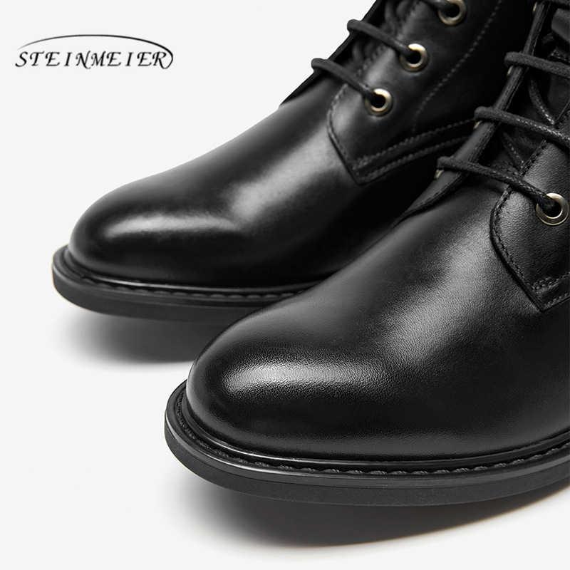 נשים חורף מגפי אמיתי פרה עור קרסול צ 'לסי איכות נוחה רך נעלי מותג מעצב בעבודת יד מגפיים שחור חום