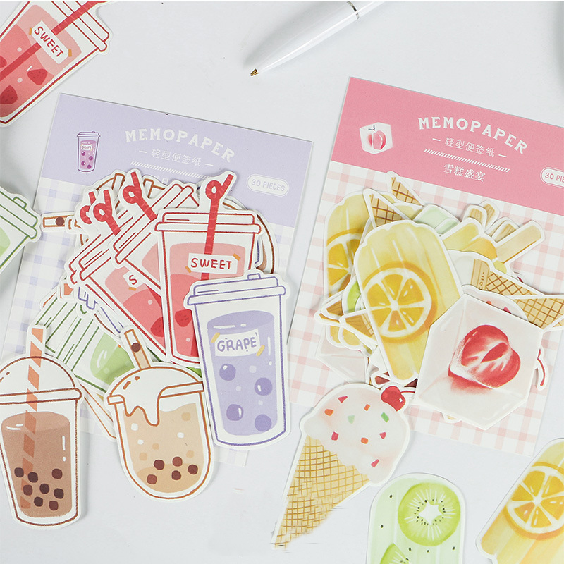 Mohamm  Summer Ice Drink Series Creative Fresh And Lovely Message Note 30PCS