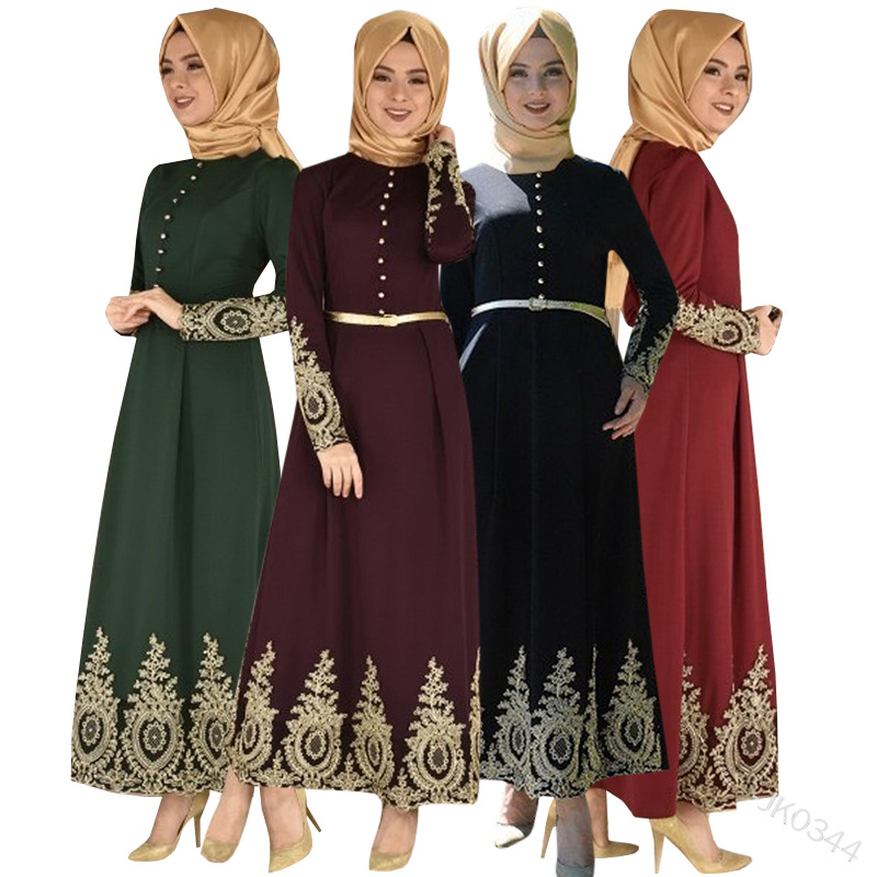 Vintage Lace Muslim Dress Women Slim Fit Long Sleeve Maxi Hijab Dresses Islamic Clothing Big Swing A-line Abaya Vestidos Dubai